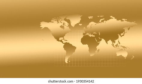 World map and grid on a gold background