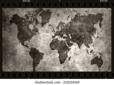 world map grunge background as black and white photo film
