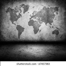 World map grunge cement room