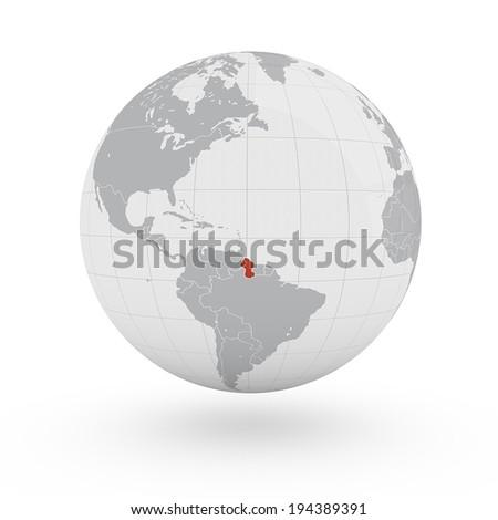 World Map Guyana America Stock Illustration 194389391 Shutterstock