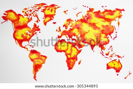Global Warming Concept Map.World Map Hand Drawing Watercolor Painting Stock Illustration