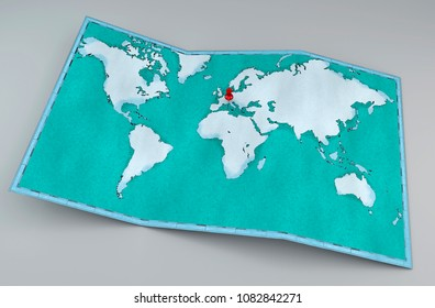 Teal World Map Belt Buckle