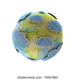 world map hand-drawn