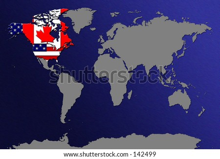 Royalty Free Stock Illustration of World Map Highlight US Canada ...