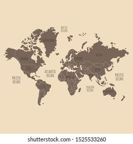 World map illustration.  World map art.