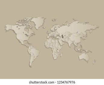 World map with individual states separated, infographics with icons raster