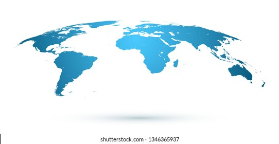 World Map Isolated on White Background in Blue Color.