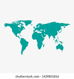World map , isolated on white background. Flat Earth, gray map template for web site pattern, anual report, inphographics. Globe similar worldmap icon. Travel worldwide, map silhouette backdrop.
