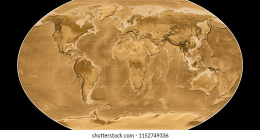 World map in the Kavraisky VII projection centered on 11 East longitude. Sepia tinted elevation map - raw composite of raster with graticule