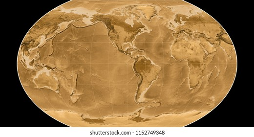 World map in the Kavraisky VII projection centered on 90 West longitude. Sepia tinted elevation map - raw composite of raster with graticule