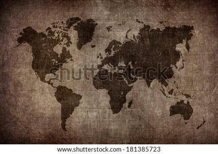 World Map Latitude Longitude Lines Vintage Stock Illustration ...