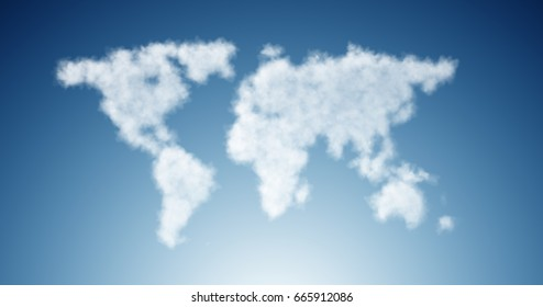 World map made of clouds in nature concept
