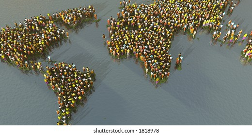 The world map made out of people