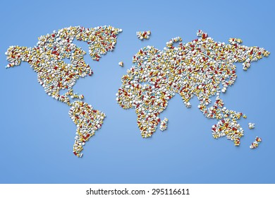 World map made of pills on blue