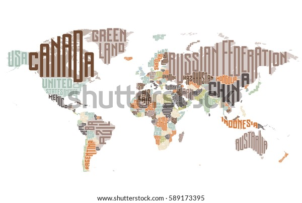 World Map Made Typographic Country Names Stock Image ...