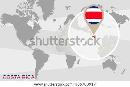 World Map Magnified Costa Rica Costa Stock Illustration 335703917 ...