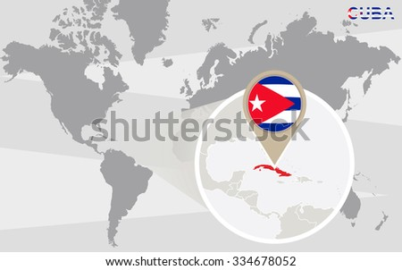 Royalty Free Stock Illustration of World Map Magnified Cuba Cuba ...