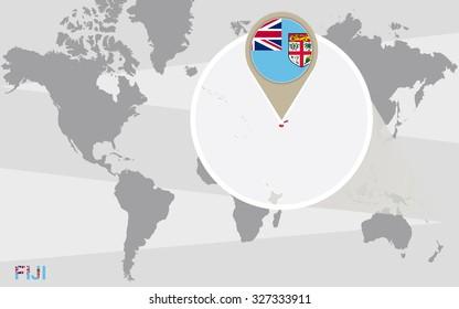 World map with magnified Fiji. Fiji flag and map. Rasterized Copy.
