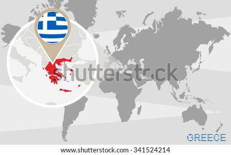 World Map Magnified Greece Greece Flag Stock Illustration 341524214 ...