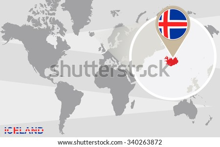 Royalty Free Stock Illustration of World Map Magnified Iceland ... on reykjavik iceland on map, new zealand world map, 3d iceland map, iceland map europe, iceland political map, iceland reykjavik city center, europe and siberia map, iceland on the globe, iceland map with main rivers names, iceland in the world map, iceland on a map, mediterranean sea map, iceland road map, scandinavia denmark sweden norway map, iceland on us map, north sea map, iceland points of interest maps, iceland location in the world, iceland on europe, iceland light show in january,