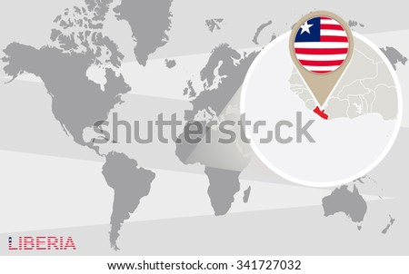 Royalty Free Stock Illustration Of World Map Magnified Liberia