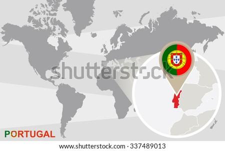 World Map Magnified Portugal Portugal Flag Stockillustration ...
