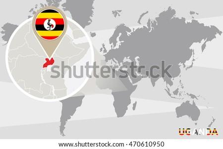Royalty Free Stock Illustration of World Map Magnified Uganda Uganda ...