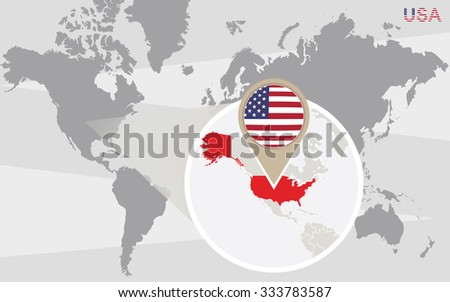 World map magnified usa usa flag stock illustration 333783587 world map with magnified usa usa flag and map rasterized copy gumiabroncs Images