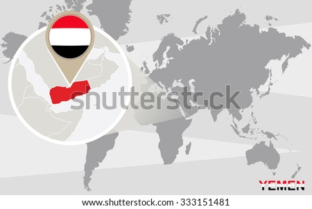 World Map Magnified Yemen Yemen Flag Stock Illustration 333151481
