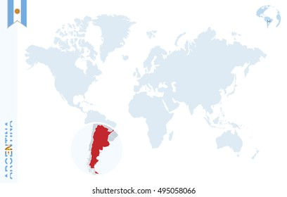 Argentina map images stock photos vectors shutterstock world map with magnifying on argentina blue earth globe with argentina flag pin zoom gumiabroncs Image collections