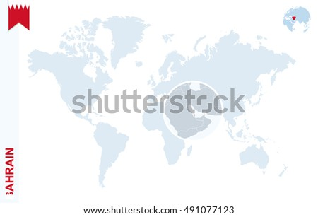 Bahrain On A World Map.World Map Magnifying On Bahrain Blue Stock Illustration 491077123