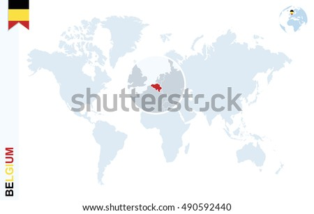 World Map Magnifying On Belgium Blue Stock Illustration 490592440 ...