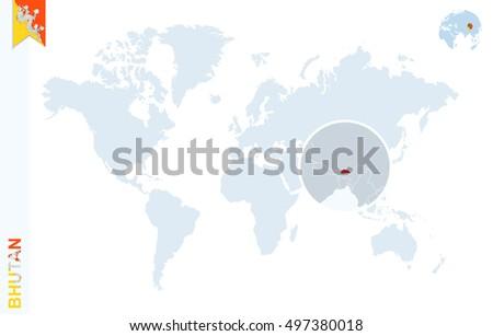 World Map Magnifying On Bhutan Blue Stock Illustration Royalty