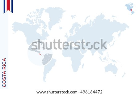 World Map Magnifying On Costa Rica Stock Illustration 496164472 ...