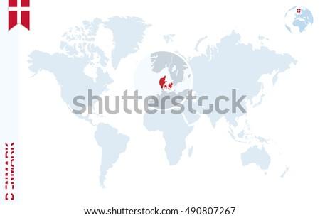 Denmark On Map Of World.World Map Magnifying On Denmark Blue Stock Illustration 490807267
