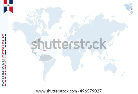 World Map Magnifying On Dominican Republic Stock Illustration
