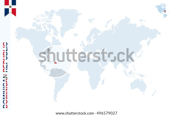 World Map Magnifying On Dominican Republic Stock ...