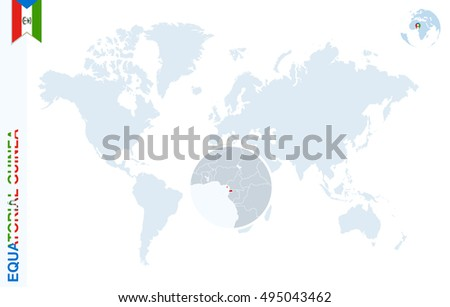 World Map Magnifying On Equatorial Guinea Stock Illustration ...