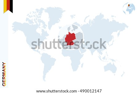 World Map Magnifying On Germany Blue Stock Illustration 490012147 ...