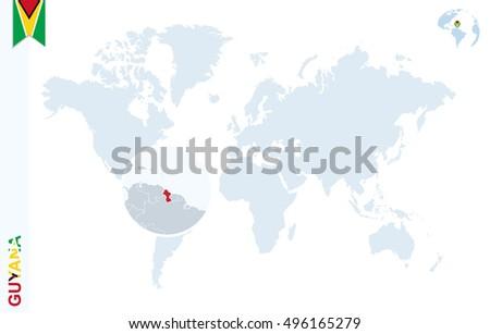 World Map Magnifying On Guyana Blue Stock Illustration Royalty