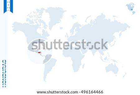 World Map Magnifying On Honduras Blue Stockillustration 496164466 ...