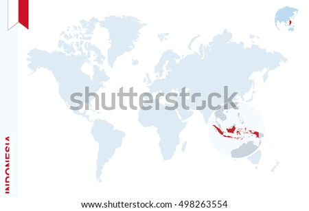 World Map Magnifying On Indonesia Blue Stock Illustration ...
