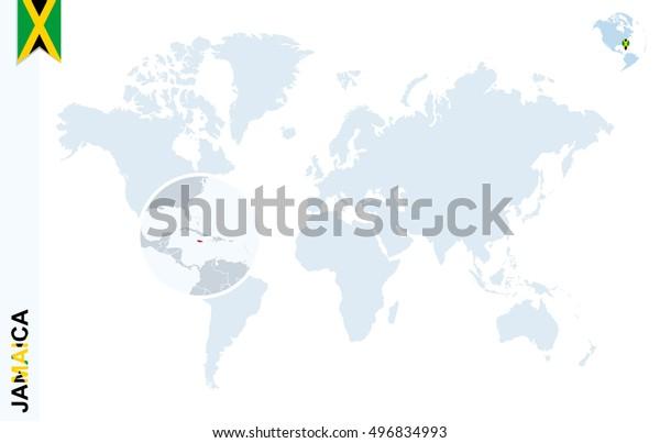 World Map Magnifying On Jamaica Blue Stock Illustration ...