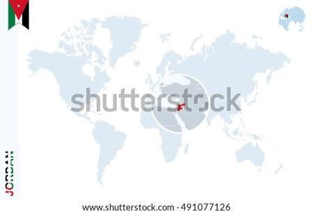 World Map Magnifying On Jordan Blue Stock Illustration 491077126 ...