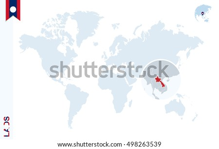Laos On A World Map.World Map Magnifying On Laos Blue Stock Illustration 498263539