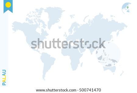 World Map Magnifying On Palau Blue Stock Illustration Royalty Free