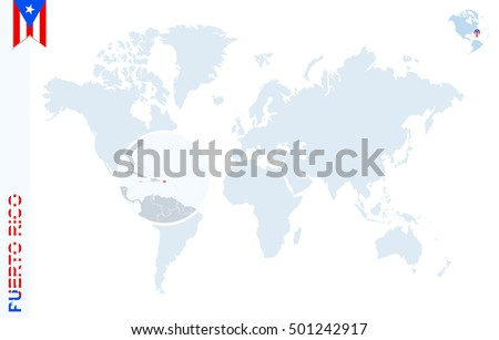World Map Magnifying On Puerto Rico Stock Illustration Royalty