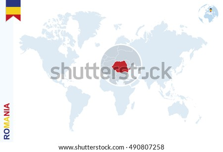 World Map Magnifying On Romania Blue Stock Illustration 490807258