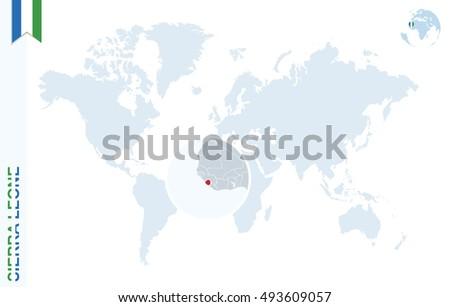 World Map Magnifying On Sierra Leone Stock Illustration Royalty