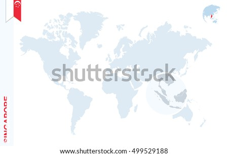World Map Magnifying On Singapore Blue Stock Illustration 499529188 ...
